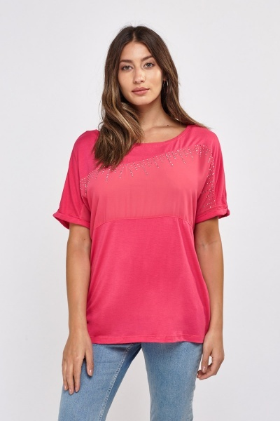 Encrusted Chiffon Contrast Top