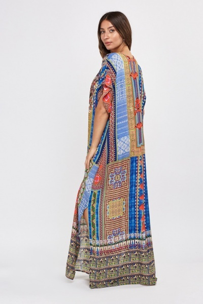 Encrusted Printed Sheer Kaftan Dress