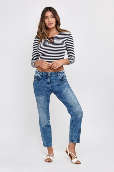 Faded Crop Denim Jeans