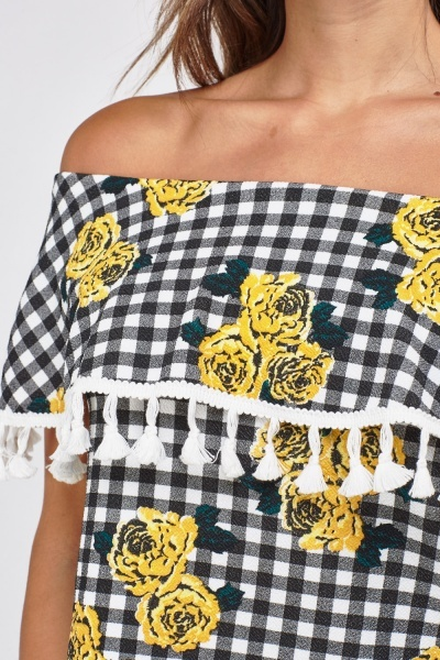 Flower Contrast Off Shoulder Gingham Top