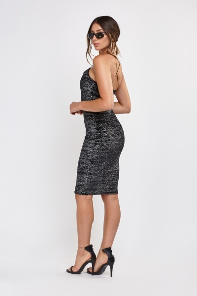 Glittered Cross Back Bodycon Dress
