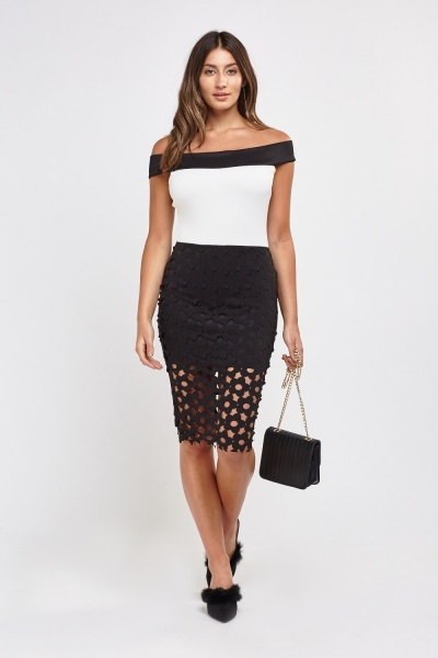 Laser Cut Off Shoulder Bardot Dress