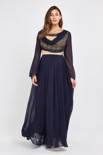 Metallic Lace Sheer Maxi Dress