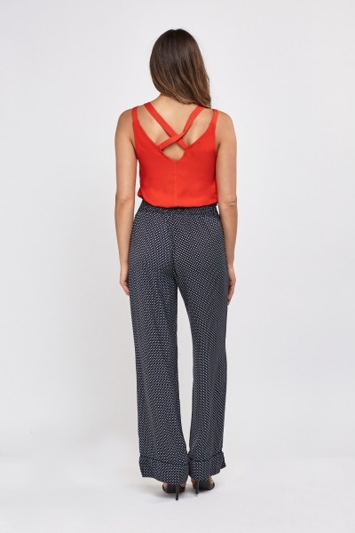 Polka Dot Wide Leg Trousers