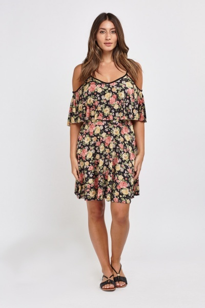 Print Frilly Overlay Dress