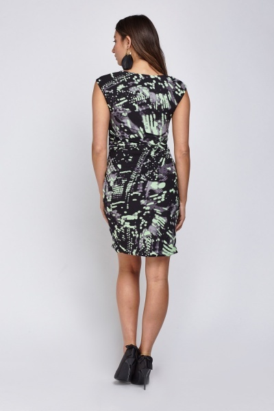 Printed Drape Front Dress