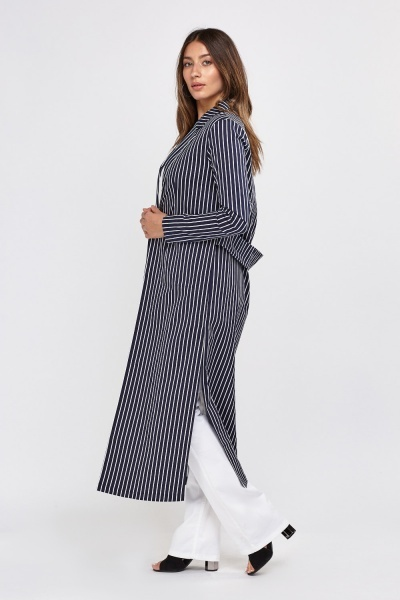 Striped Long Duster Coat