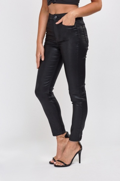 Waxed Skinny Ankle Trousers