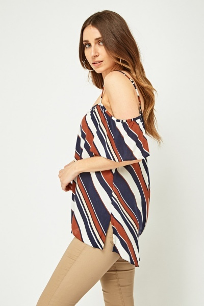 Asymmetric Striped Frilly Top