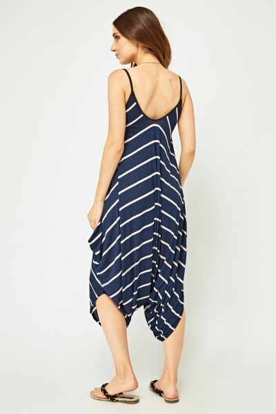 Asymmetric Striped Harem Jumpsuit
