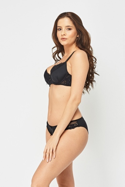 Balconette Lace Trim Bra And Brief Set