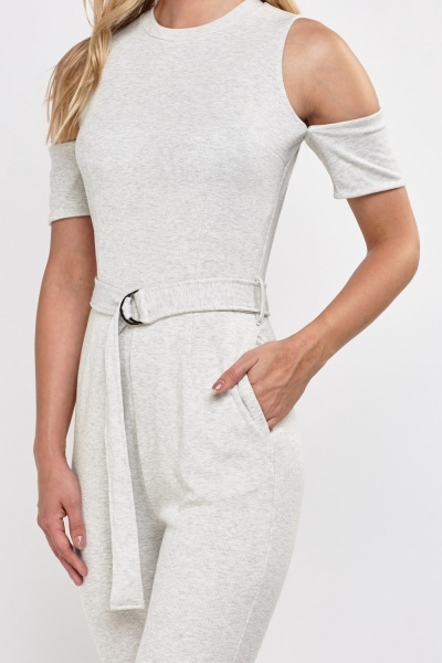Cold Shoulder Jersey Jumpsuit