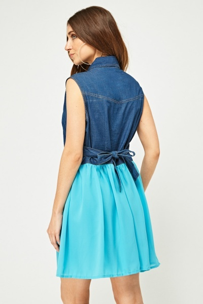 Denim Sheer Contrast Babydoll Dress