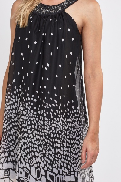 Embellished Neck Sheer Shift Dress