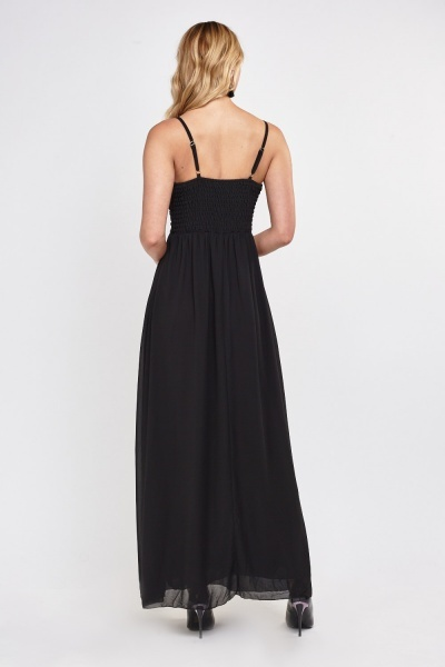 Embellished Pleated Sheer Maxi Dress