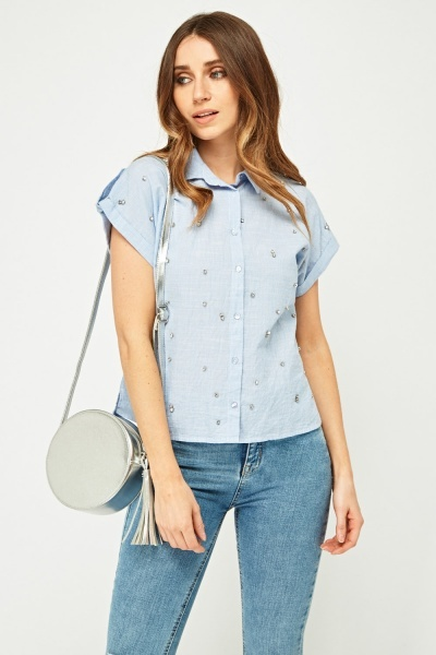Embellished Short Sleeve Shirt