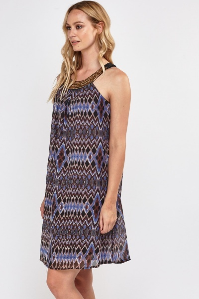 Embellished Tribal Print Tunic Dress