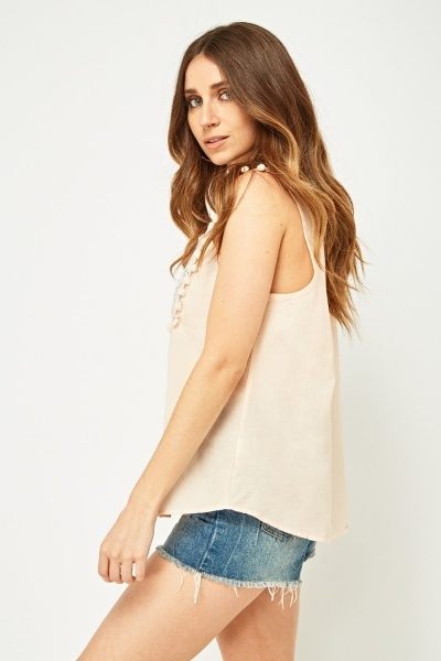 Embroidered Pom-Pom Trim Top
