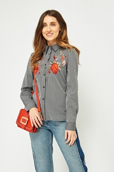 Flower Embroidered Stripe Shirt