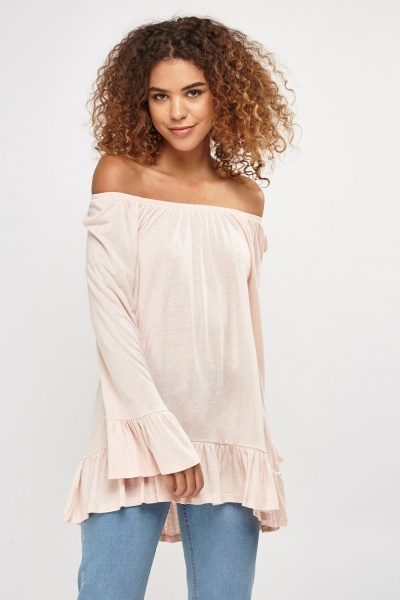 Frilly Hem Off Shoulder Top
