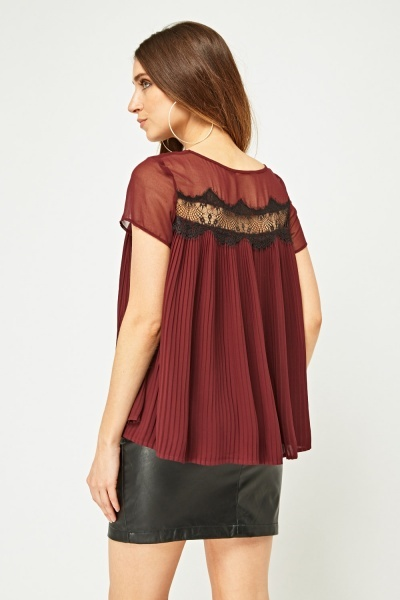 Lace Insert Pleated Sheer Top