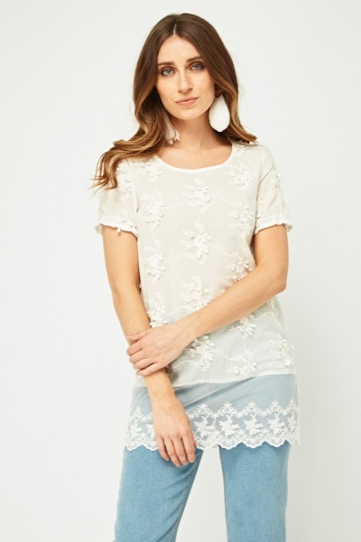 Lace Net Detail Broderie Top
