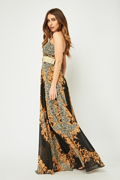 Metallic Baroque Printed Maxi Dress
