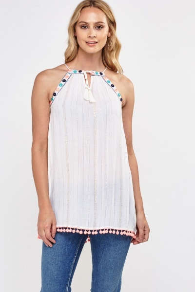 Metallic Embroidered Halterneck Top