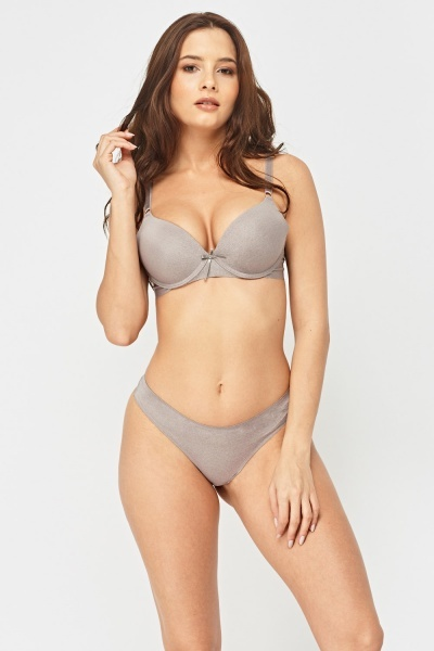 Metallic Insert Bra And Brief Set
