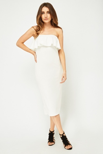 Ruffle Strapless Pencil Dress