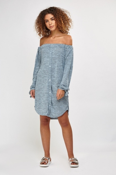 Speckled Tie Up Sleeve Dress