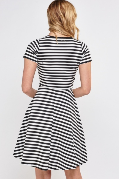 Striped Wrap A-Line Dress