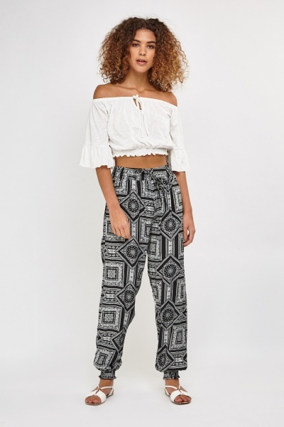Arabesque Printed Harem Trousers