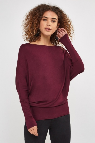 Asymmetric Batwing Sleeve Top