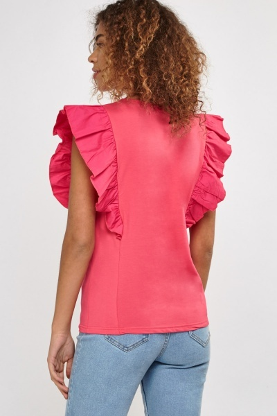 Basic Frilly Sleeve Overlay Top
