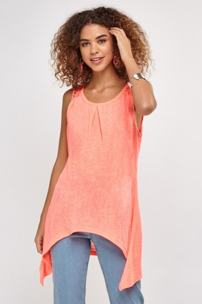 Crochet Back Asymmetric Top