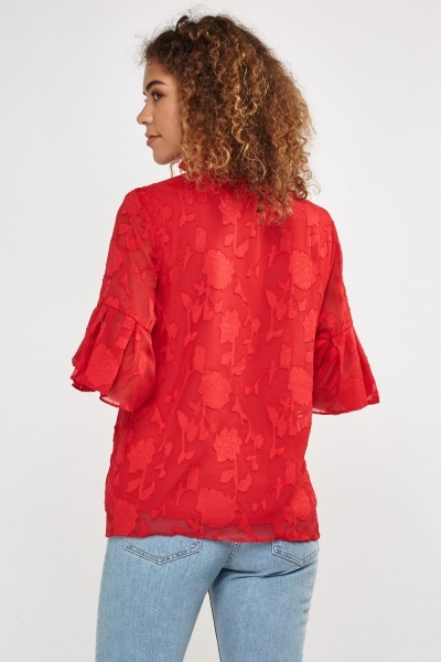 Devore Flower Sheer Blouse