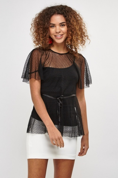 Dotted Lace Net Overlay Top