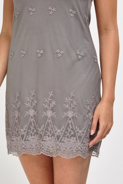 Embroidered Net Lace Overlay Dress