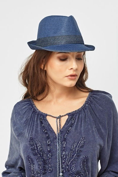 Fedora Denim Trim Hat