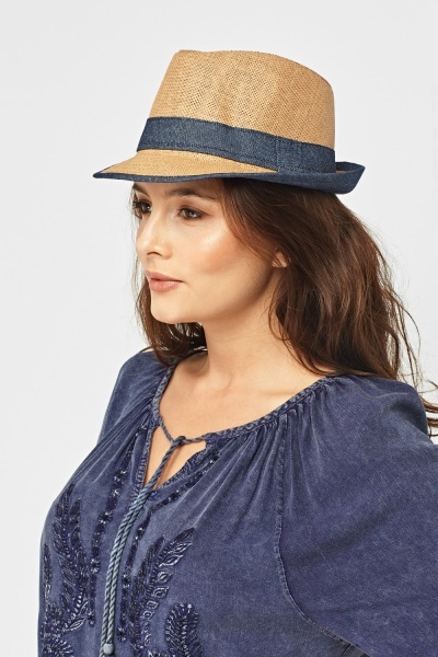 04d6f1dcb9f Fedora Denim Trim Hat - Sand or Grey - Just £5