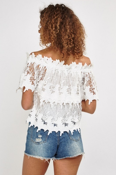 Laser Cut Lace Off The Shoulder Top