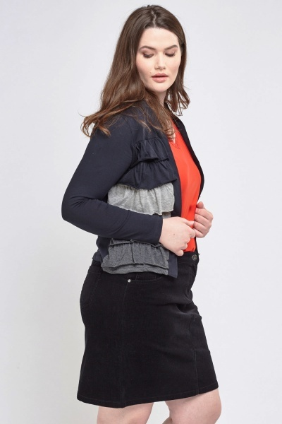 Layered Side Knitted Cardigan