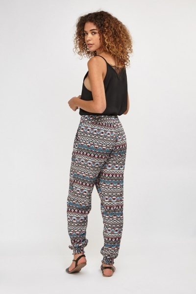 Mixed Aztec Printed Trousers