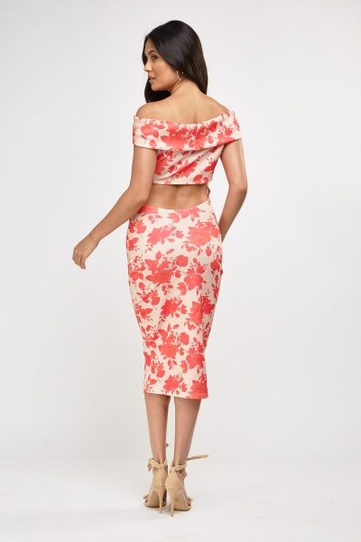 Printed Bardot Midi Dress