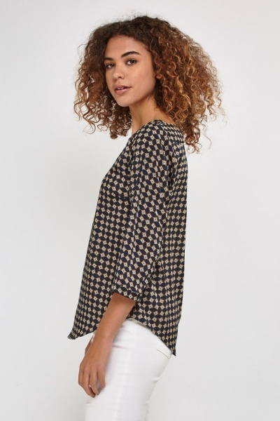 Printed Cropped Sleeve Blouse