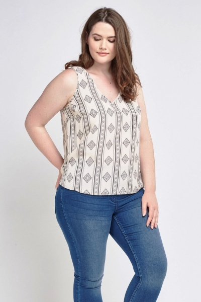 Printed Sleeveless Top