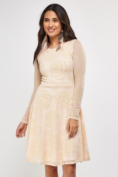 Rose Embossed Net Skater Dress