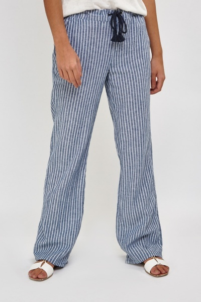 Striped Wide Leg Linen Trousers