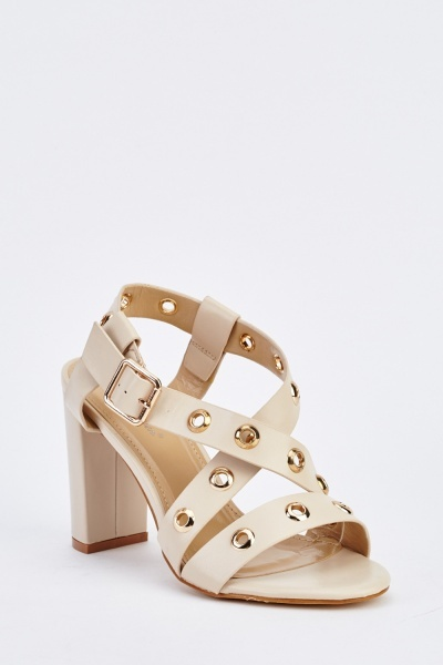 Eyelet Cross Strap Heeled Sandals